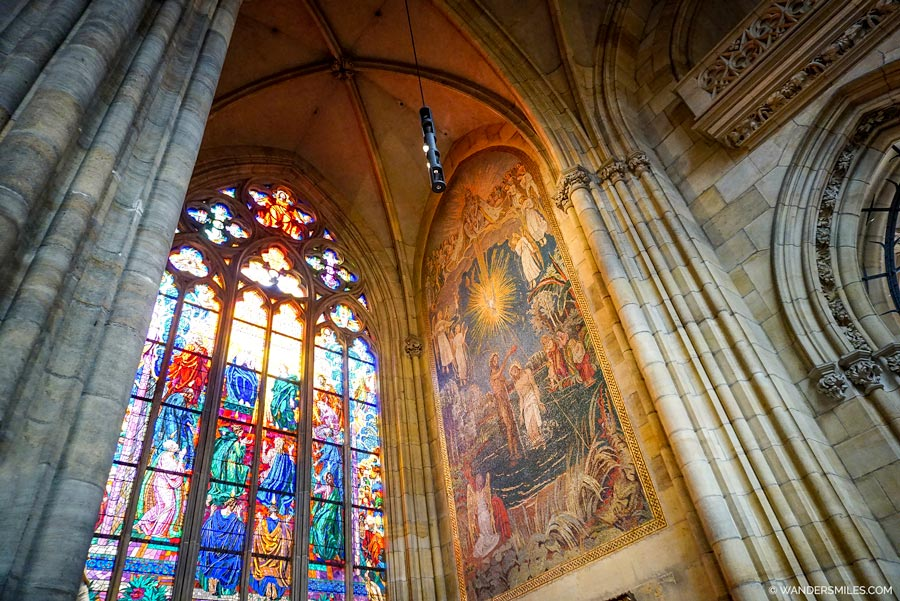 Stained glass windows in St. George's Basilica in Prague Castle