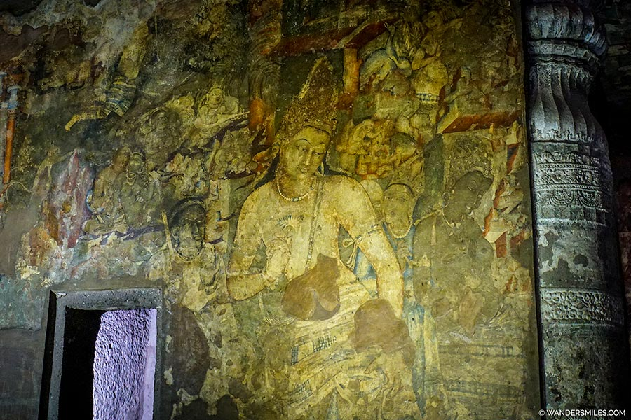 Drawings in Cave 1 of Ajanta Caves