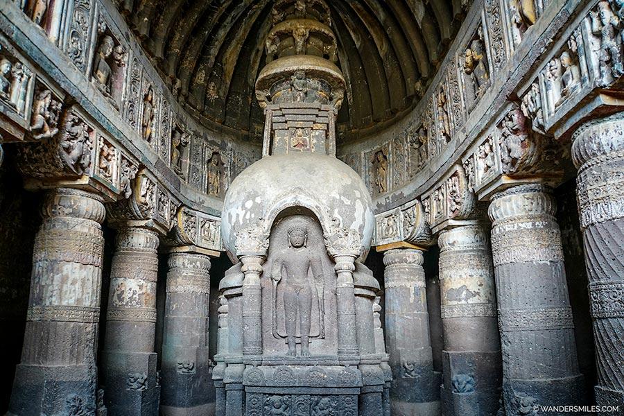 Pillars in Cave 17 of Ajanta Caves