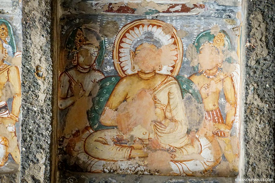 Drawings of Buddhas in Cave 9 at Ajanta Caves
