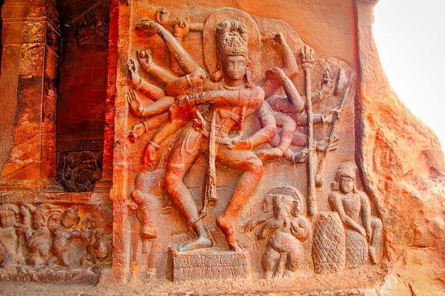Impressive carvings of Hindu gods inside the Badami Cave Temple