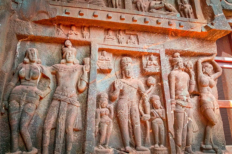 Buddhist carvings at the entrance to Karla Caves