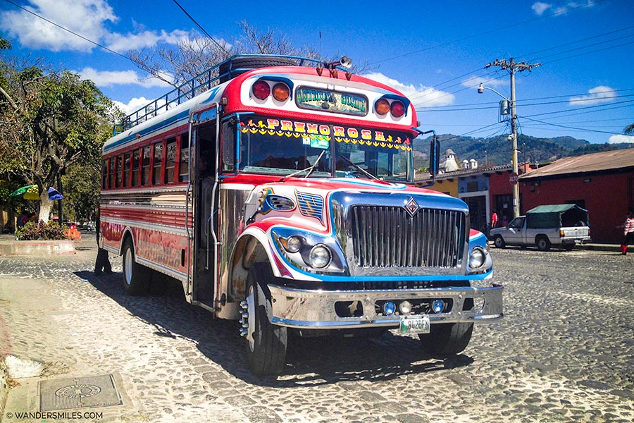Bright Chicken Bus in Antigua Guatemala
