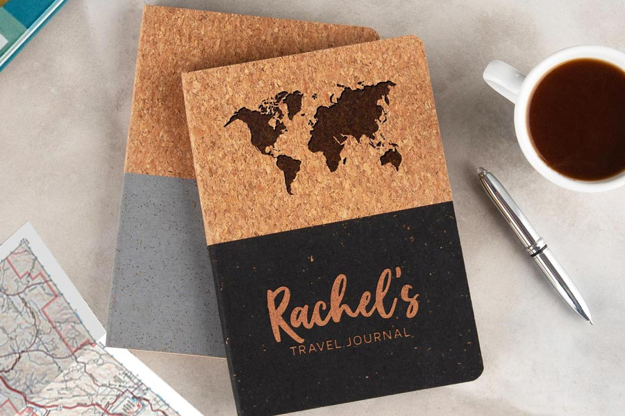 Personalised Cork Travel Journal for her