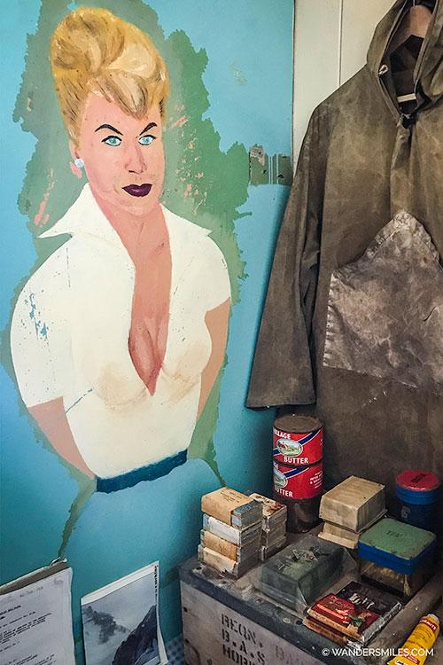 Doris Day painting on the living museum at Port Lockroy, Antarctica
