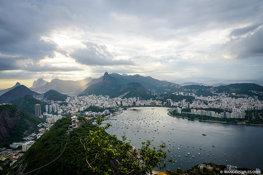 View of Rio de Janeiro from Sugarloaf Mountain at sunset