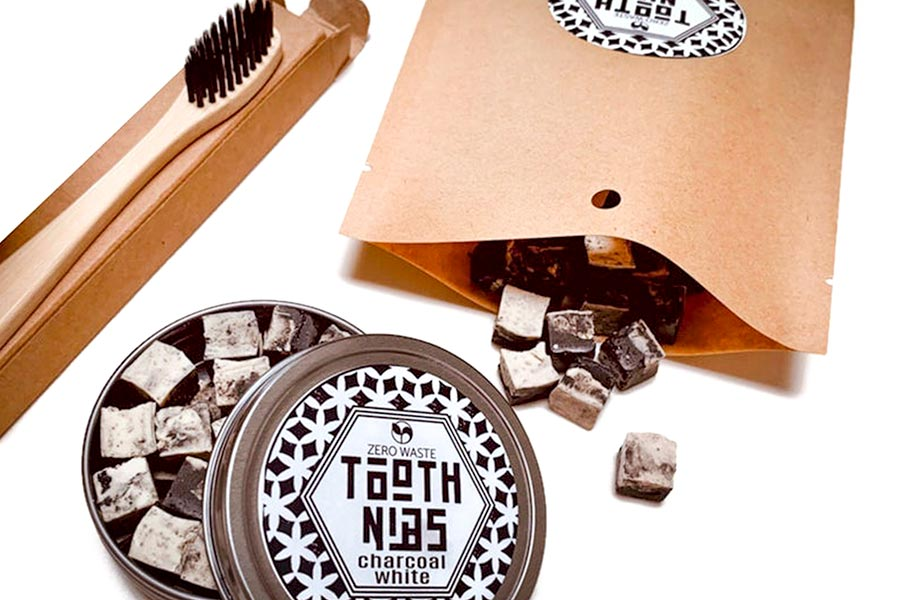 Natural and Organic Tooth Nibs~Zero Waste Remineralizing Solid Toothpaste~Plastic Free~Bamboo Toothbrush Gift Set