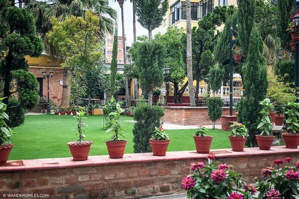 Breakfast views of the Buddha Gardens of Kathmandu Guest House