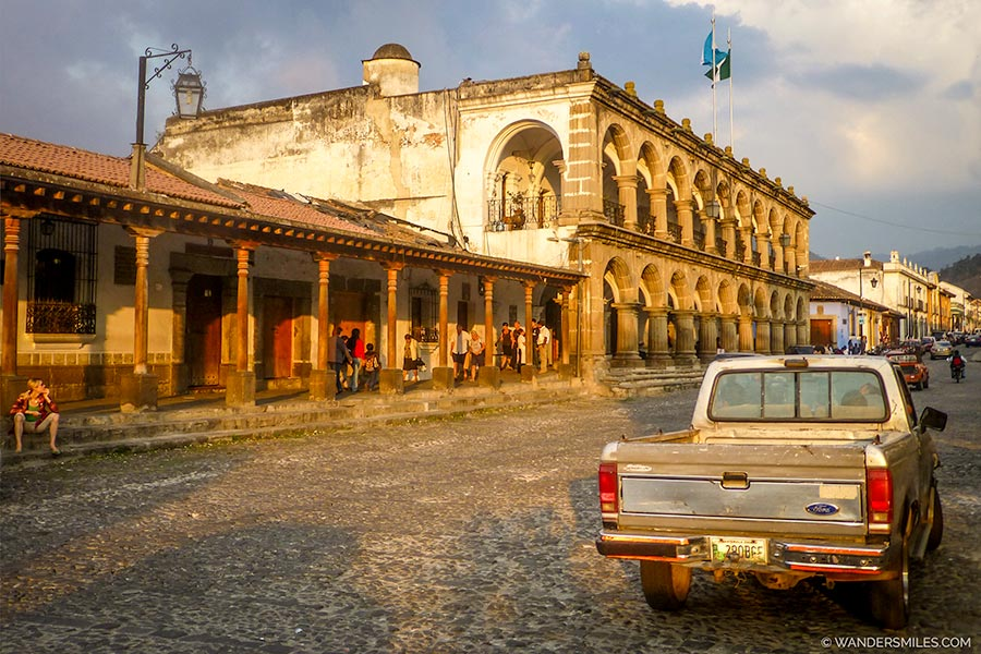 Palacio del Ayuntamiento by Plaza Mayor in Antigua, Guatemala