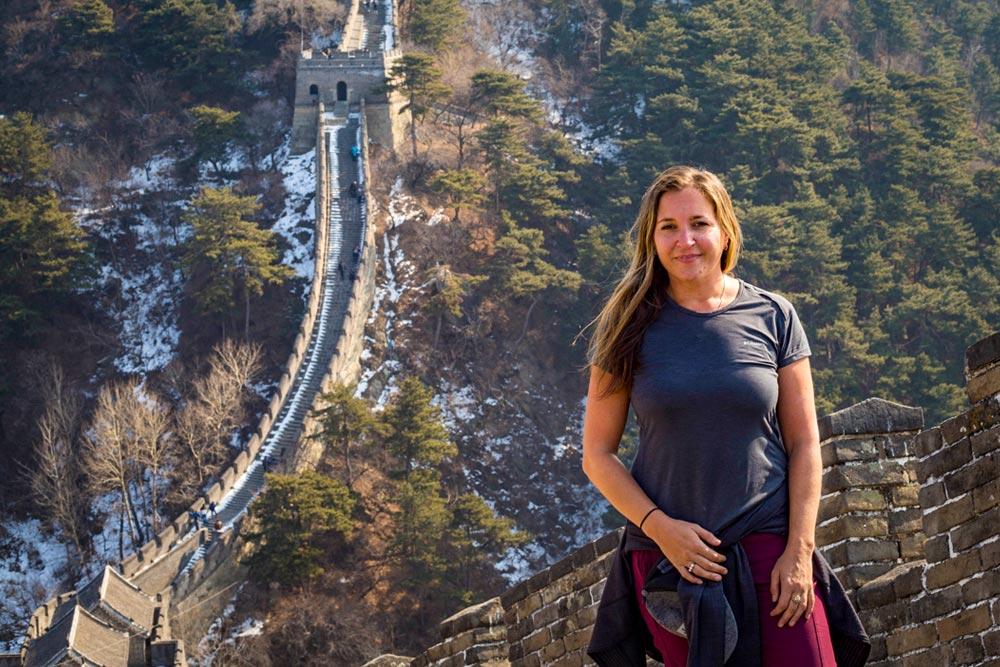 Vanessa, Creator of Wanders Miles hiking the Great Wall of China