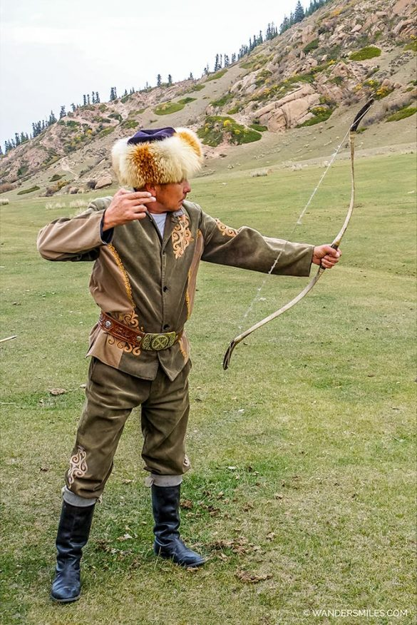 Eagle Hunter showing his srchery skills in Kyrgyzstan