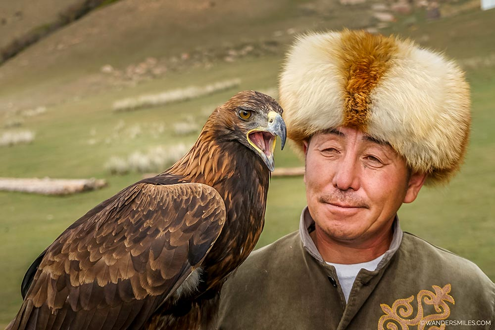 Close relationship Eagle and Hunter in Kyrgyzstan