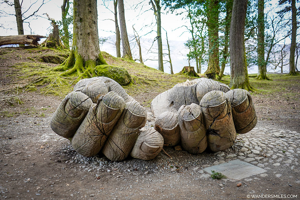 Entrust hand sculpture in Brandelhow Park, Derwent Water