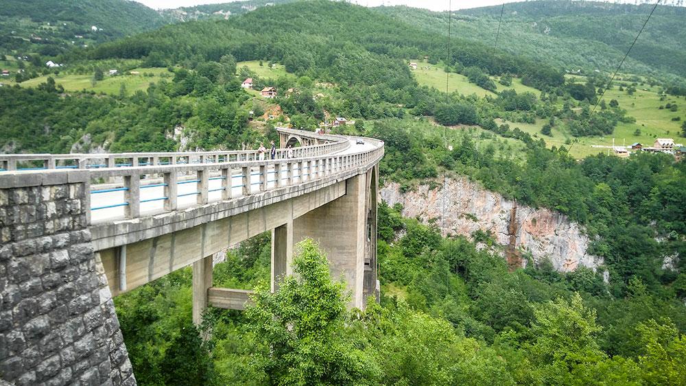 Zipline by Djurdjevica Bridge in Tara Canyon, Montenegro