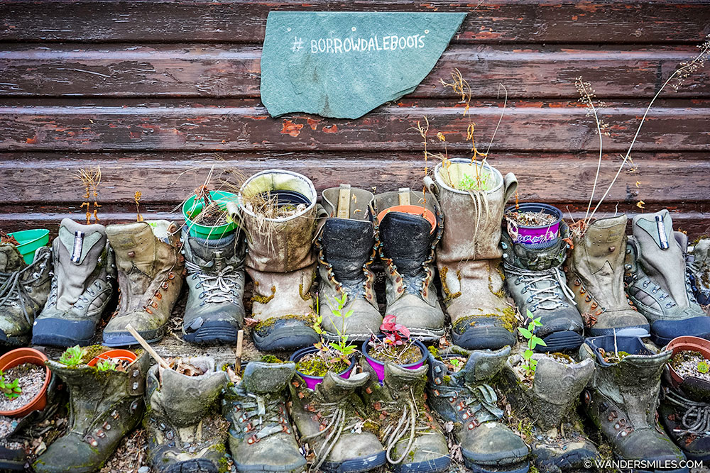Upcycled boots into plant pots at YHA Borrowdale