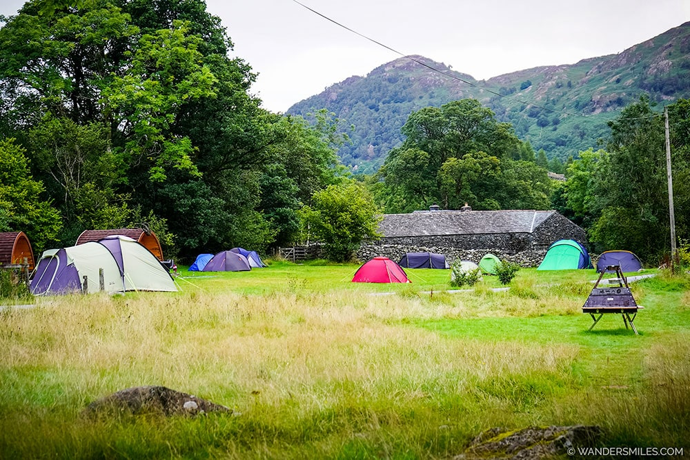 Tent pitches at YHA Borrowdale