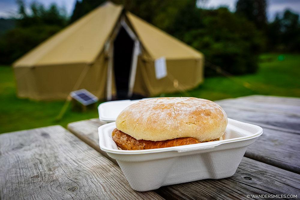 Breakfast Baps by the bell tent at YHA Hawkshead